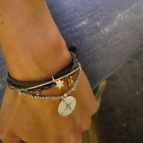 Bracelet Talisman Rose des vents Argent et cristal