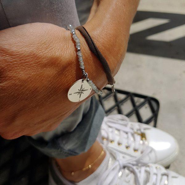 Bracelet Talisman gris argent Rose des vents