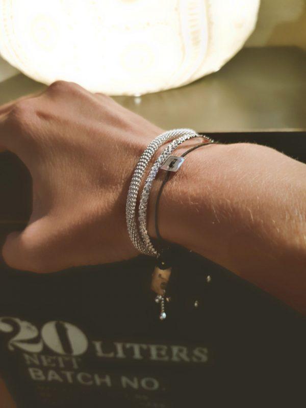 Bouton argent bracelet réglable