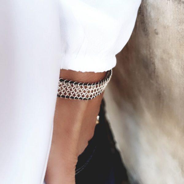 Bracelet cotte de mailles en argent