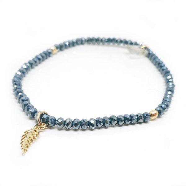 bracelet cristal et plume or bleu canard