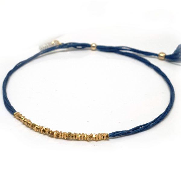 Bracelet Delicate soie et perles pépites Or