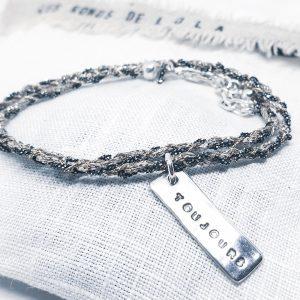 Bracelet Toujours gravé en argent massif